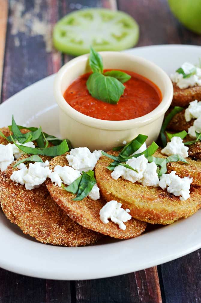 Fried Green Tomatoes with Goat Cheese and Roasted Red Pepper Vinaigrette.  This Southern-meets-Italian appetizer is bound to be a late-summer favorite.  I crave it all year long! | blog.hostthetoast.com