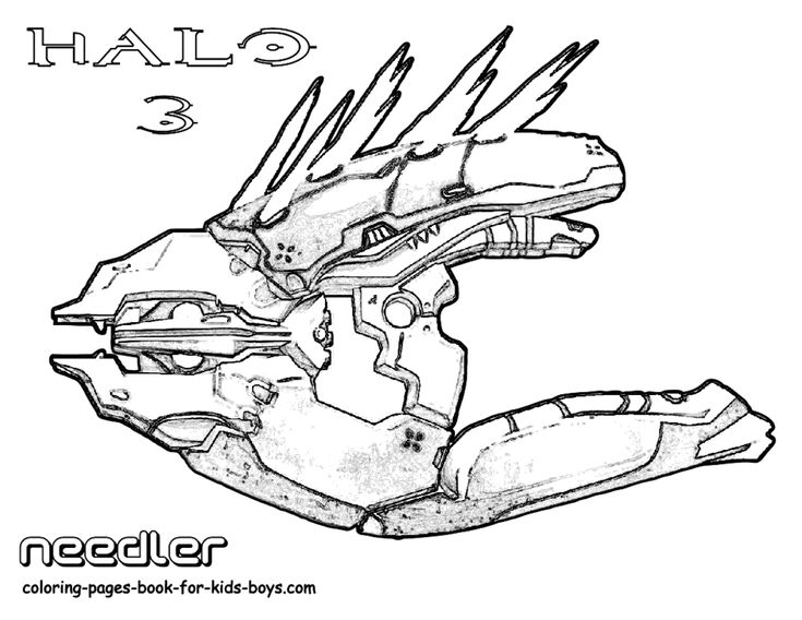 coloring pages x box halo   Classic Halo 3 Coloring! Needler Weapon!   Halo 5 4 3 ...