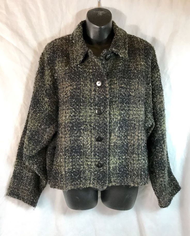 Kiko Wool Blend Sweater Jacket Dark Black Brown Button Made in Ireland One Sz  #Kiko #SweaterJacket #Evening