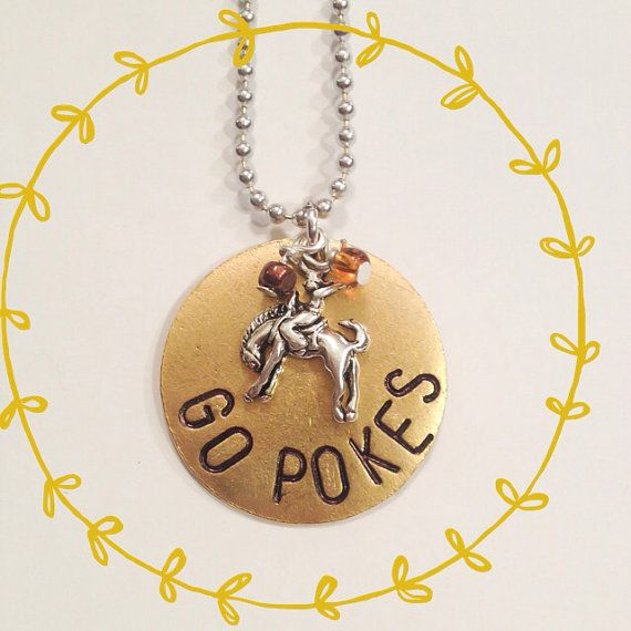 Go Pokes hand stamped necklace. Wyoming football. by PENNISPRINTS