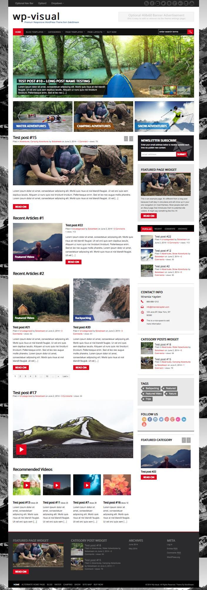 WP Visual Theme for Newspaper or Magazine Style Websites Photo
