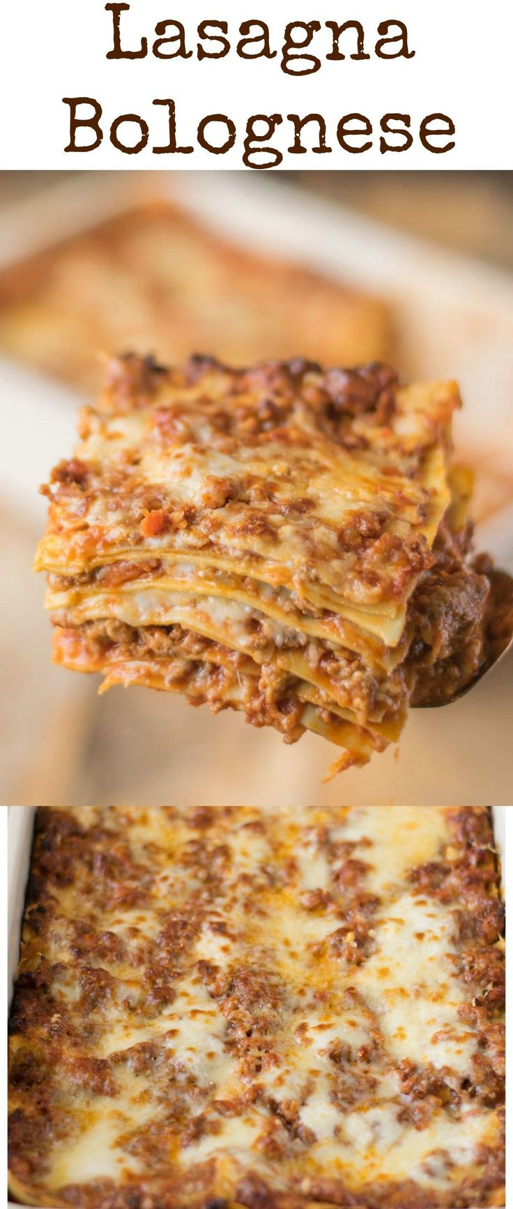 Lasagna (lasagne) Bolognese is a hearty Italian classic recipe with layers of fresh pasta, Bolognese sauce, bechamel sauce and Parmesan cheese. Perfect for feeding a crowd or freezing. #pastafoodrecipes
