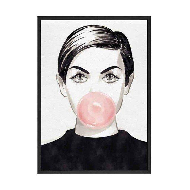 Audrey Hepburn Twiggy Kaugummi Wand Kunst Leinwand Fashion Glam Idol Portrait Po…