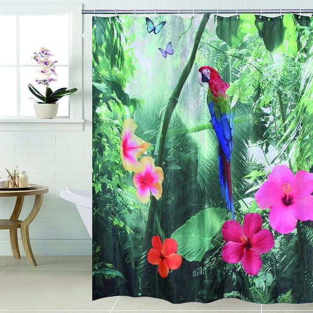 Happy Tree Polyester 3d Red Parrot Shower Curtain 3d Waterfall