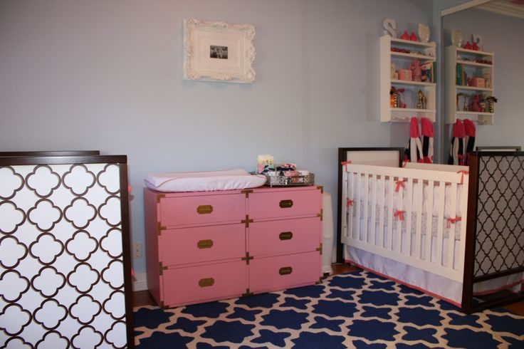 We love this vintage pink campaign dresser in this twin girls' nursery! #twins #nursery #vintage: Pink Dresser, Twin Girl Nurseries, Campaigns Dressers, Twin Nurseries, Pink Campaigns, Baby Girls, Twin Girls Nurseries, Nurseries Ideas, Baby Nurseries