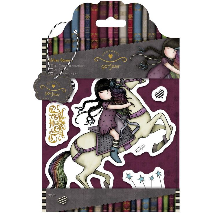 RUNAWAY - Simply Gorjuss - DOCRAFTs SANTORO Cling Stamp Set - New !! Little Girl on a HORSE - by BarbsHandiworks on Etsy