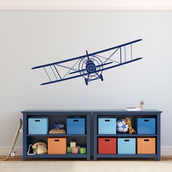 Biplane Wall Decal Airplane Wall Decal Boy Nursery by PonyDecal