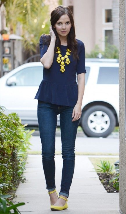 Navy peplum blouse, indigo jeans or navy slim pants with yellow accents  Statement necklace and shoes , perfect for Spring 2015
