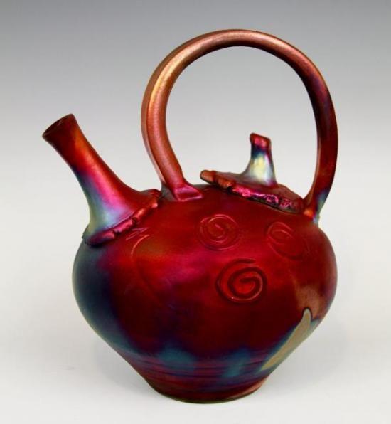 Raku teapot by Kerry Gonzalez