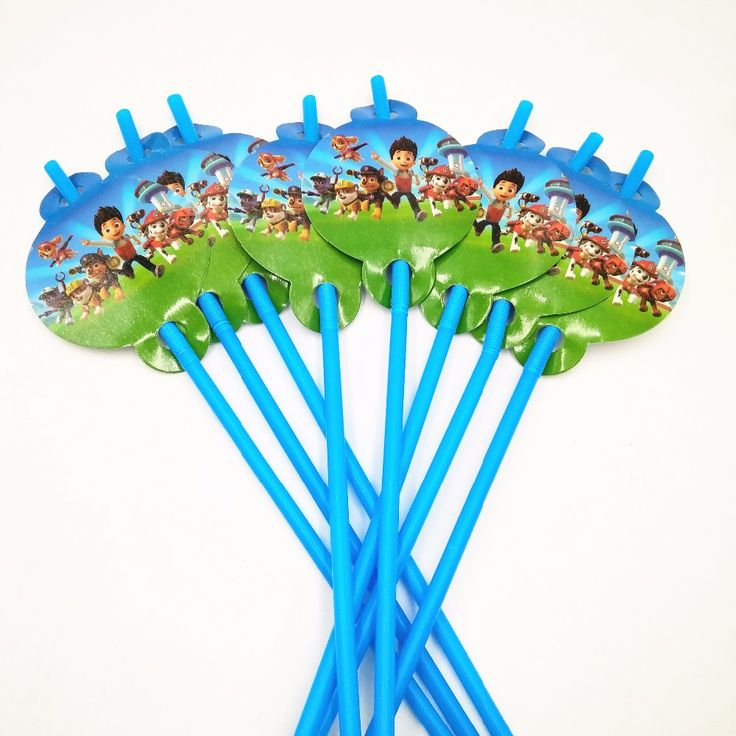 10pcs/lot Cartoon Straw Pattern Patrol Puppy Theme Party Decoration Disposable Tableware Drinking Straws Party Supplies Favors