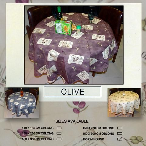 Olive Design Tablecloth Country Style Clearance Stock
