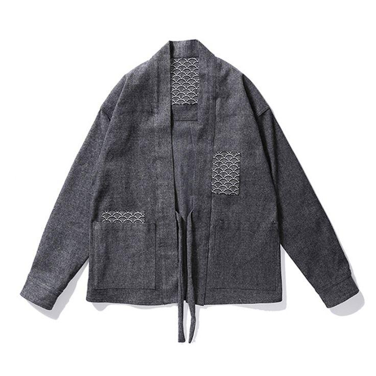 Europe American New Fashion Streetwear Mens Noragi Kimono Japanese Embroidered Shirt Kanye West Hemp Men Shirts