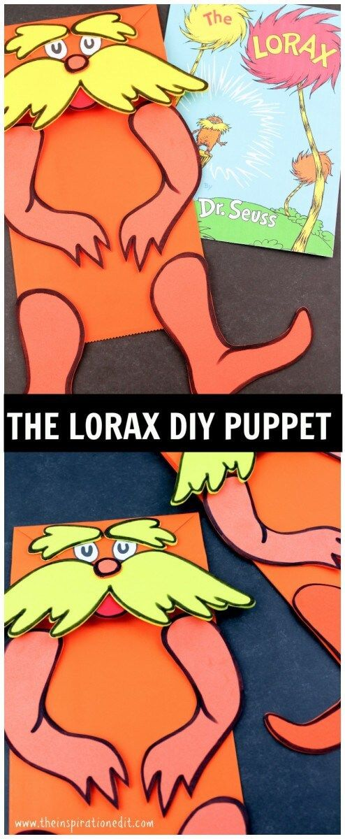The Lorax Paper Bag Puppet And Free Printable  I don't know anyone that doesn't love The Lorax by Dr Seuss. We sure do. He is super cute, funky and makes a great character. Reading with kids is so important and not only helps develop literacy skills but we can learn a lot including learning …