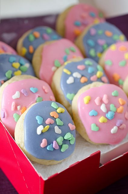 Awesome frosting recipe for sugar cookies - by Pennies on a Platter. I just tried it this morning and it was the perfect consistency!