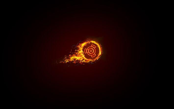 Download wallpapers Ubuntu, Linux, fire, art, abstract logo, Ubuntu logo