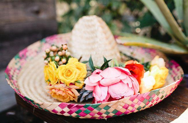 Sombrero mejicano. Decoración matrimonio México