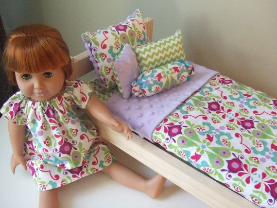 How To Make A Doll Decorative Pillow : Bedding for 18 in Doll - 5pc Set - Decorative Pillows n Coverlet - Aqua n Purple Pink with Minky ...