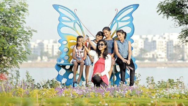 Kids playing at Butterfly Garden in Sanjeevaiah Park on Friday | A Suresh Kumar