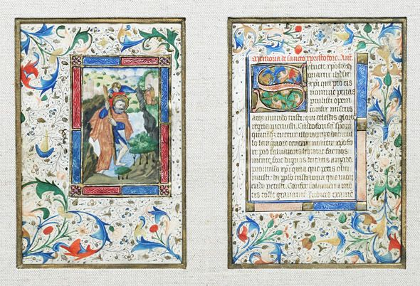 Illuminated Manuscript Leaves - Saint Christopher. This and more rare books for sale on CuratorsEye.com