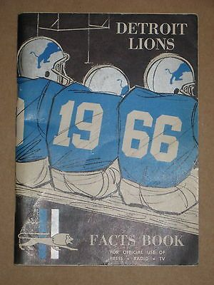 1966 DETROIT LIONS PRESS RADIO TELEVISION GUIDE!!!!!!!!!!!
