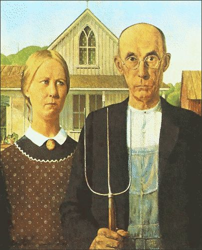 Grant Wood's American Gothic has become an American icon. Description from quizlet.com. I searched for this on bing.com/images