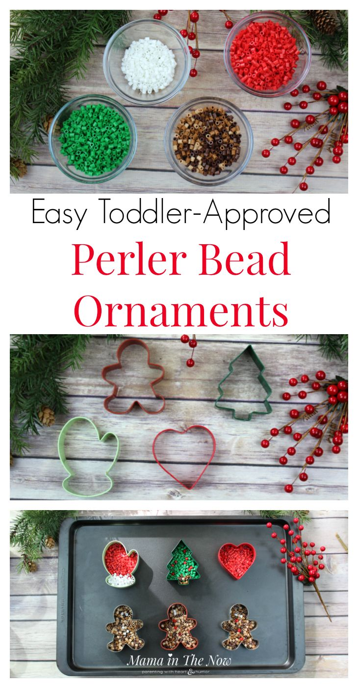 Easy Toddler-Approved Perler Bead Ornaments. Easy ornaments to make with toddlers and preschoolers. These Perler beads, fuse beads, HAMA beads are great for fine motor skills. The ornaments make great homemade gifts for grandparents. Fun, quick and easy craft for toddlers and preschoolers. Christmas ornaments for toddlers and preschoolers to make. #ChristmasOrnaments #ToddlerActivity #PerlerBeads #FuseBeads #HAMABeads #EasyChristmasOrnaments #HomemadeOrnaments via @MamaintheNow
