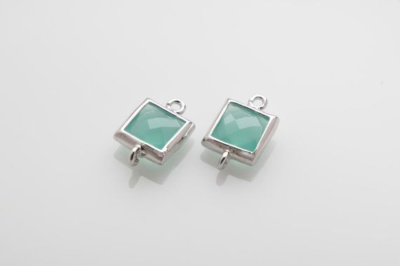10% OFF For 10 Pieces Mint Glass Connector, Square Glass, Polished Rhodium Plated Over Brass -10 pieces / SGLP0003G/MINT/PR