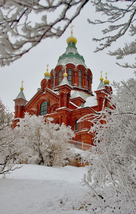 Helsinki, Finland, church in winter,  by Chris Bladon