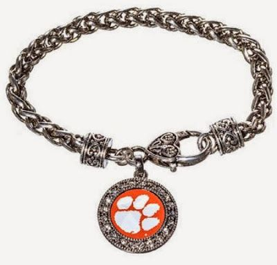 Clemson Girl #Wedding Wednesday Giveaway- Enter to win this gorgeous #Clemson bracelet! #wedding #jewelry #gameday