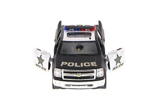 2014 Chevy Silverado Police Pick-Up, Black & White - Kinsmart 5381DP - 1/46 Scale Diecast Model Toy Car