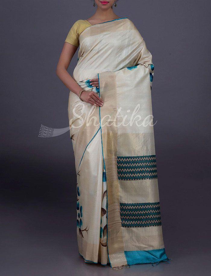 Roshni Pristine Bloom With Stripy Pallu Pure #KosaSilkSaree