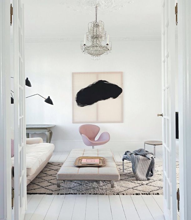 Moroccan Rug + Muted Interiors + Chandelier + Art