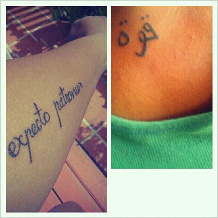My first two tattoos, Strength in Arabic and Expecto Patronum from Harry Potter. :-)