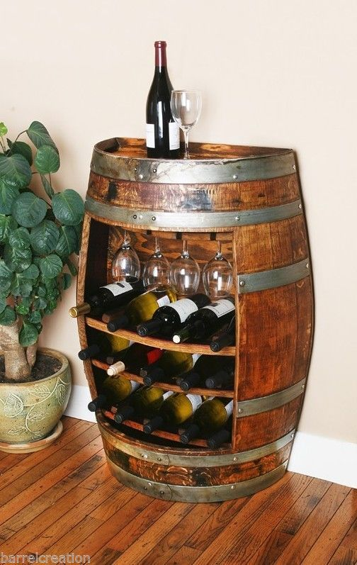 Wine Barrel Cabinet Holds 15 wine bottles & 4 wine glasss, Solid Oak Made By WBC