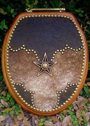 VERY WESTERN DECOR LEATHER & COWHIDE TOILET SEAT WITH STAR ACCENT: