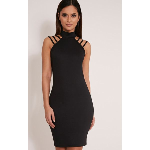 Joslyn Black High Neck Strap Detail Bodycon Dress ($10) ❤ liked on Polyvore featuring dresses, black, night out dresses, going out dresses, sexy going out dresses, bodycon dress and sexy body con dresses