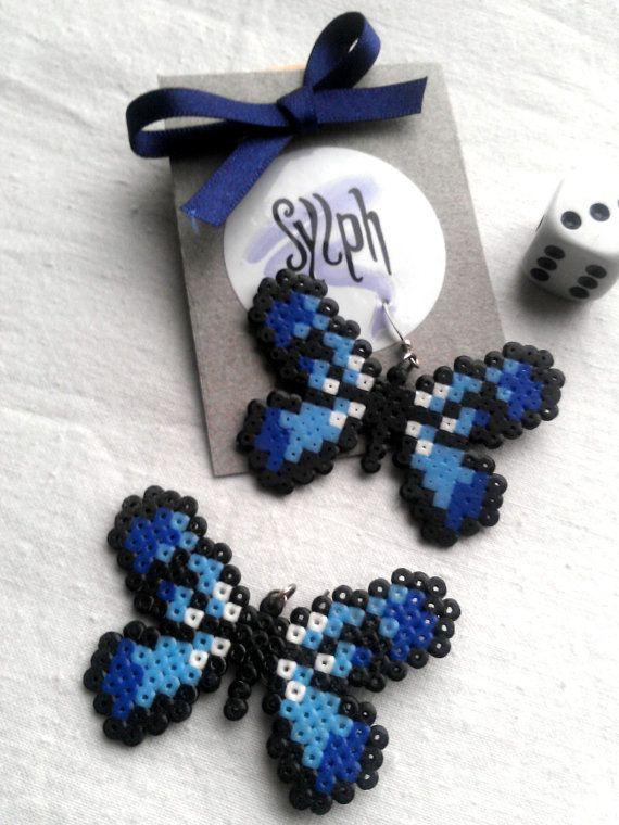 Orecchini realizzati Hama Mini perline Flutterby di SylphDesigns