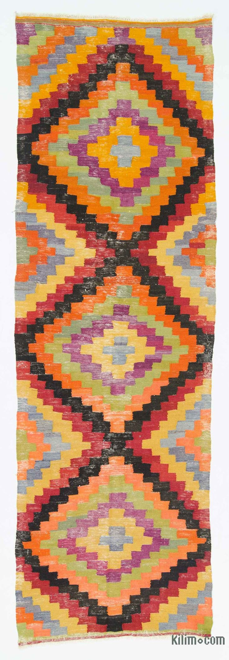 Vintage Turkish kilim rug hand-woven in 1960's. This tribal kilim is in very good condition.