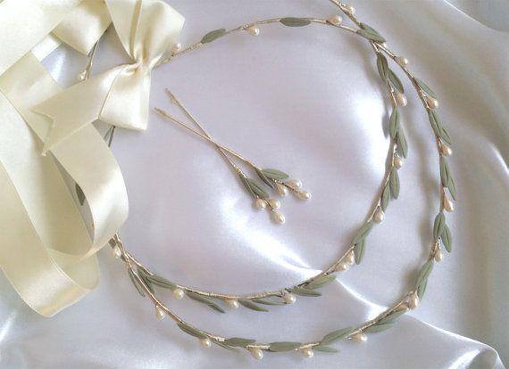 Stefana Wedding Crowns Greek Olive Leaves Orthodox Pearl Crown