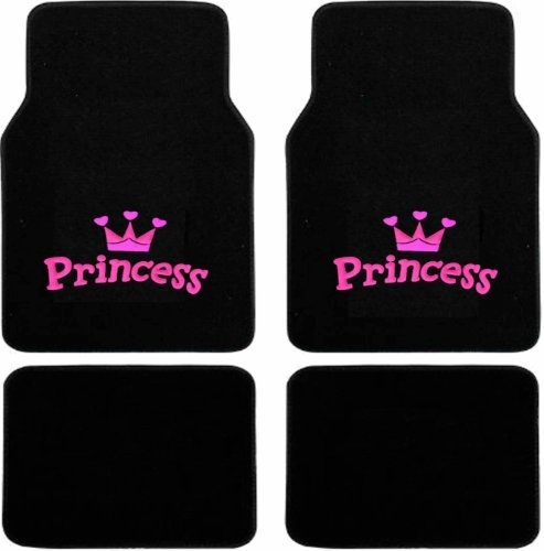 4pc Universal Pink Princess with Crown Front and Rear Black Carpet Floor Mats for Car Suv Truck ...