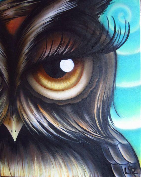 I see you   Original Owl Art By the Happy Artist by happyartistliz, $200.00