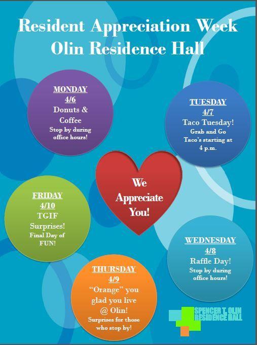 Resident Appreciation Week 2015 Olin Hall! Apartment