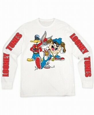 Looney Tunes Mens Shirt White Size Large L Graffiti Crewneck Graphic Tee #204 #f… – T-Shirts