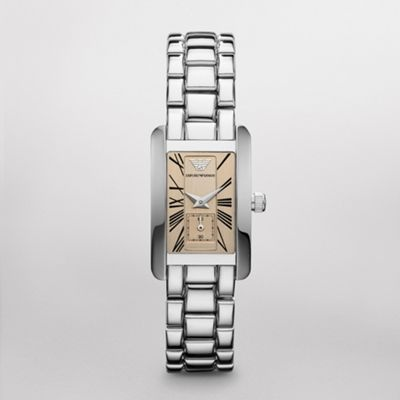 Sale    Classic Watch  SALE Original Price - $245 Arrive on time with this slim, sleek watch from Emporio Armani. The stainless steel case features a rose dial with roman numeral hour markers and a sweeping second hand. The polished stainless steel bracelet completes the look.