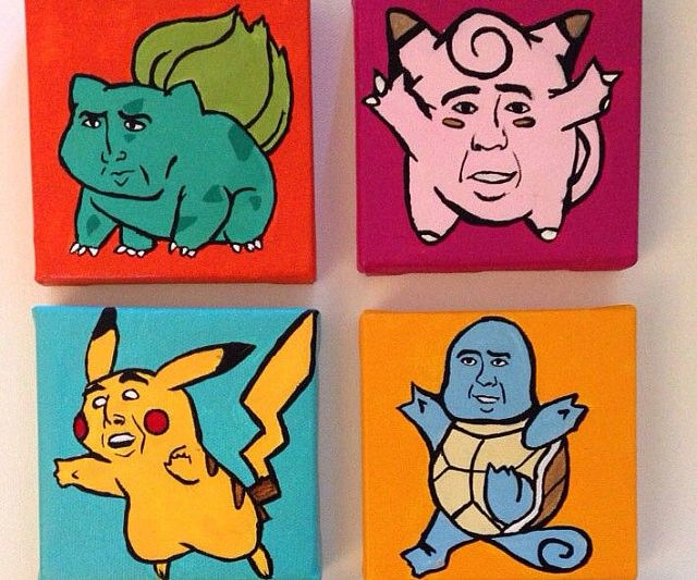 omg. Gotta Cage them all! This starter pack of all knowing, all powerful Pokemon paintings are portrayed in the image of the one true god - Nicholas Cage. His heavenly light guides us in all matters - and transcends all genres, including Pokemon.