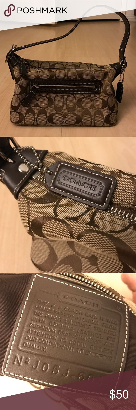 Coach signature mini shoulder bag Classic style. Signature jacquard print. Dark brown leather trim. Very gently used, no signs of wear. Coach Bags Mini Bags