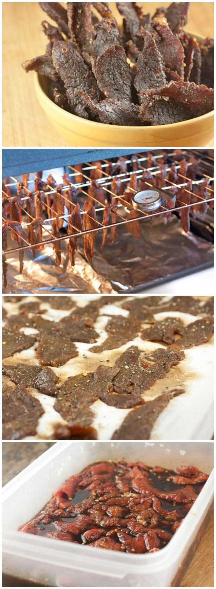 Beef Jerky... in the oven! ((ooh! Need to try this for sure. Jared would LOVE it!! He always wants jerky)