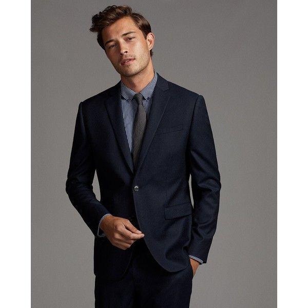 Express Slim Photographer Navy Stripe Wool Blend Suit Jacket (445 AUD) ❤ liked on Polyvore featuring men's fashion, men's clothing, men's suits, blue, mens striped suit, mens slim cut suits, mens suits, mens clothing and express mens clothing