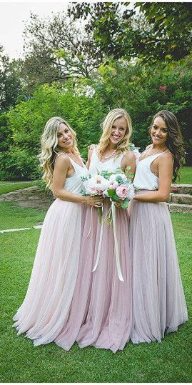 Gorgeous Two Piece Pink Tulle Long Bridesmaid Dress with White Top Bridesmaid Dresses