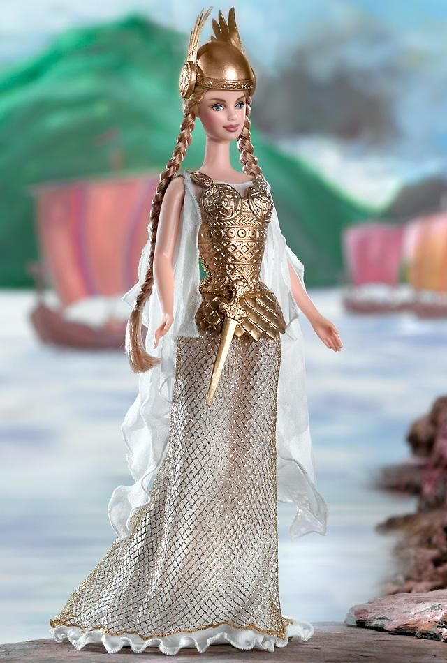 "Princess of the Vikings™ Barbie® Doll.  I can't stop laughing at the stupid horned helmet.  They ought to call this ""Wagnerian Barbie"" since the winged helmet is not historically apt.  In fairness, Vikings didn't wear plastic armor either."